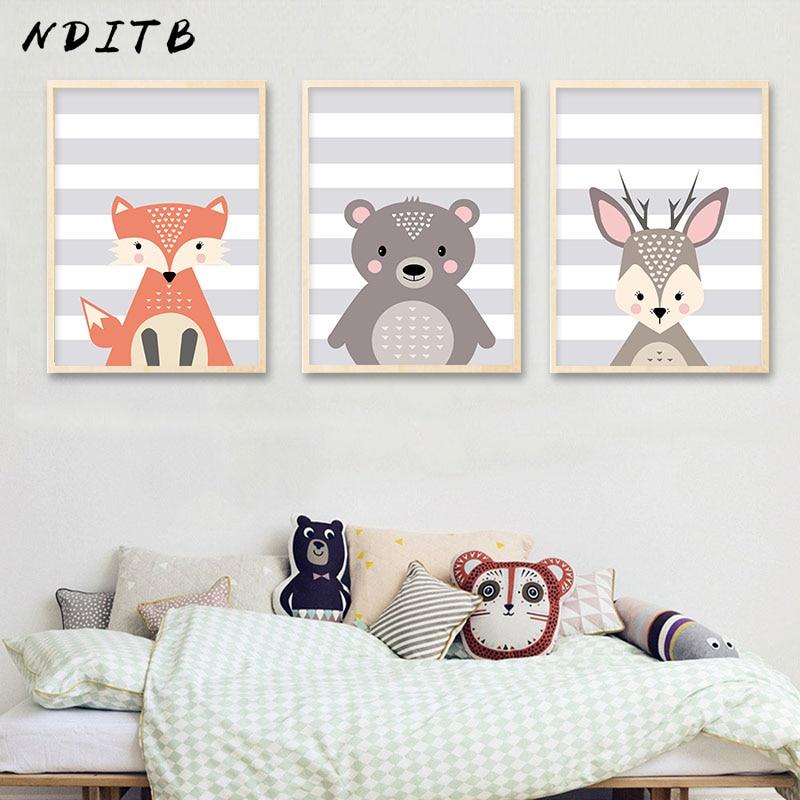 Nditb Woodland Animal Fox Deer Canvas Posters Wall Art