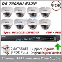 8pcs DS 2CD2142FWD IS 4MP IP Security Camera NVR DS 7608NI E2 8P 8CH 8 Ports