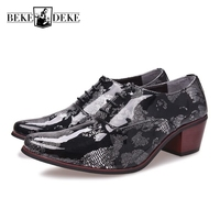 Patent Leather Men Fashion Formal Shoes Lace Up Male Wedding Shoes Pointed Toe Prited 3D Footwear
