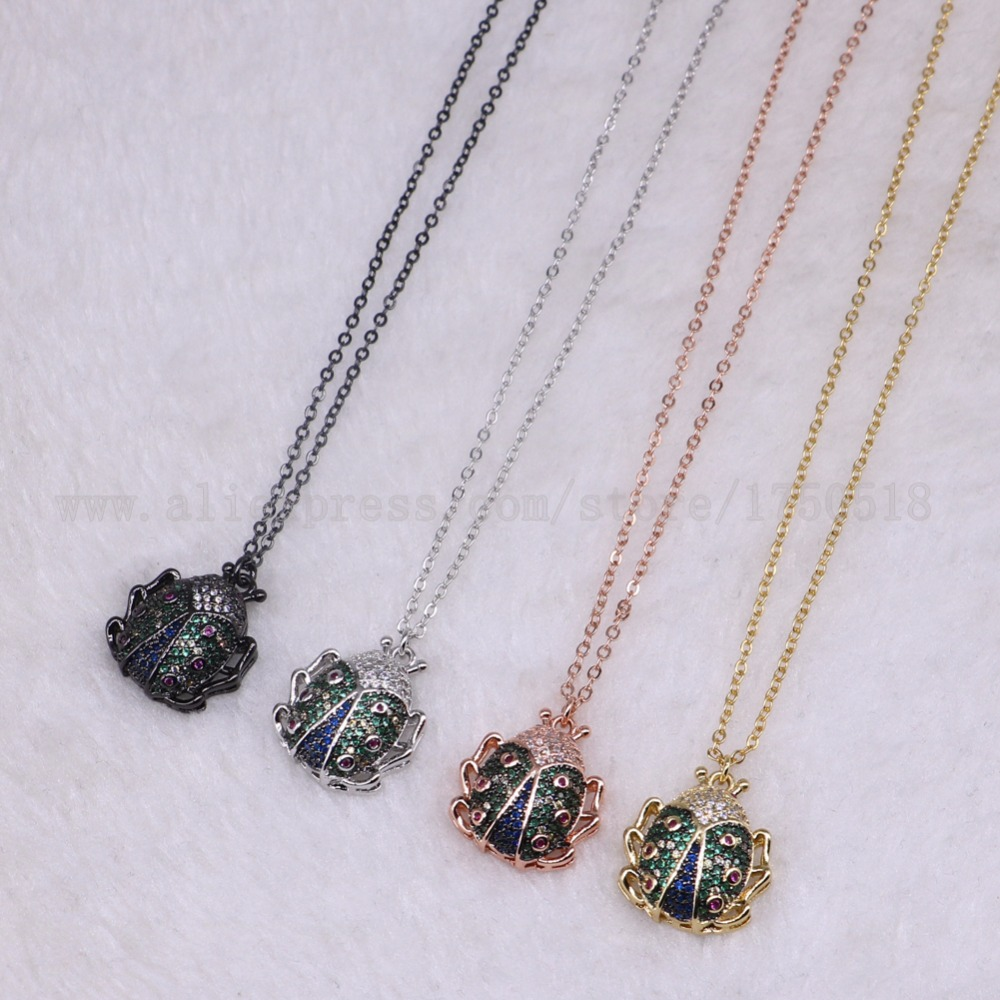 5 strands Bee Insects pets bugs ladybug necklace for lady Bee pendants small size jewelry 18 mix color necklace pets beads 3295