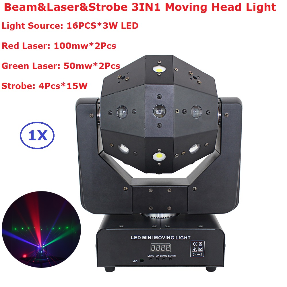 Strobe & Beam & Laser 3IN1 LED Moving Head Lights 16X3W RGBW Single Color LED Moving Head Beam Lights With 16/18 DMX Channels free shipping beam moving head 36 3w rgbw color moving head light with 11 15 channels dmx led beam moving head