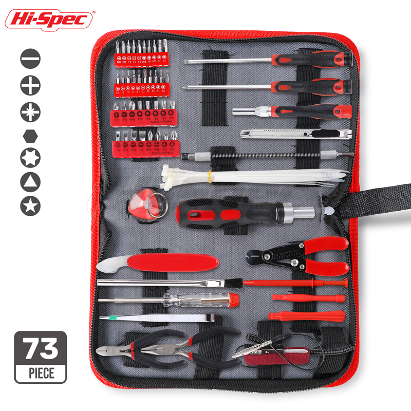 Hi-Spec 73pc Electronic Tool Set Computer Mobile Phone Repair Tools Kits DIY Multi Hand Tool Set In Zipper Storage Case DT30127