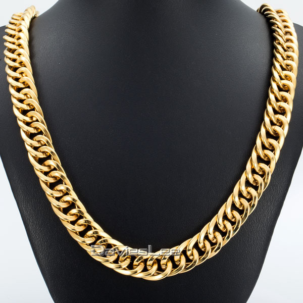 DOUBLE CURB Chain 14mm Wide Gold Plated Stainless Steel