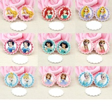 Mixed Resin Charms Round Princess Charm For Rubber Band Hair Pin Brooch Decoration 10PCS