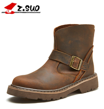 z.suo Cow Leather Women's Motorcycle Boots Autumn New Fashion Retro Ankle Boots Women Buckle Bota Feminina Shoes Plus Size 36-42