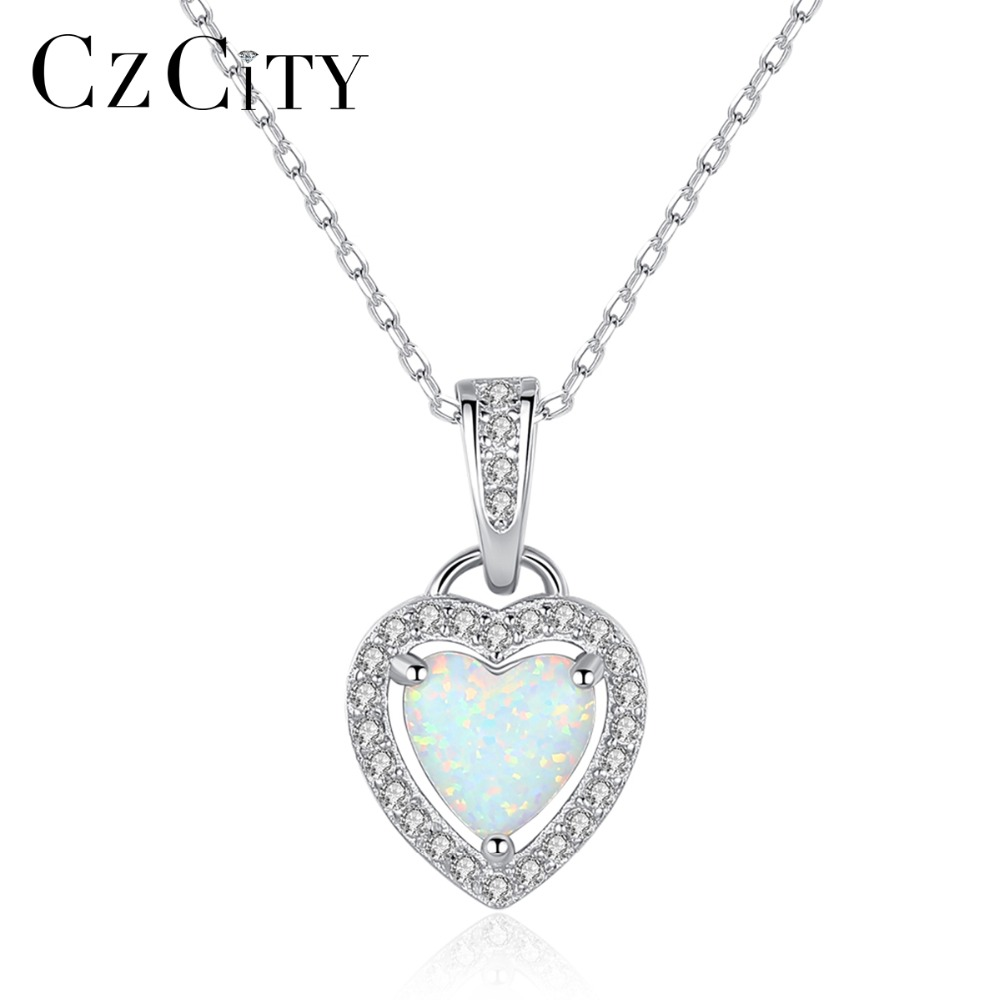 45f86383ada3 Cheap Collar con colgante de ópalo de fuego corazón de plata de ley 925  para mujer