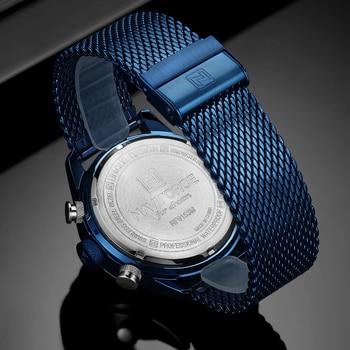 NAVIFORCE Men's Dual Display Mesh Belt Military Waterproof LED Clock Sports Quartz Watches 2