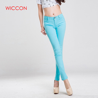 WICCON The New2018 Fashion Spring Summer Women Candy Colors Jeans Women Sweet Casual Slim Straight Jeans