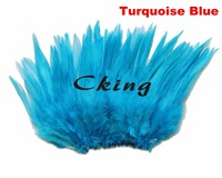 EMS free shipping 1kgs turquoise blue dyed rooster saddl hackle feather rolls trims strungs 5 6 DIY chicken neck feathers