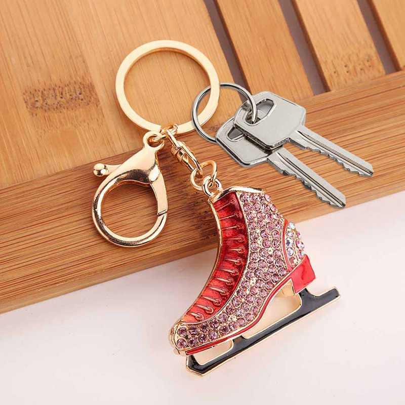 1 Uds. Últimos encantadores zapatos de patines con diamantes de imitación de cristal llavero de cuero para hombres y mujeres coche Llaveros colgante regalo