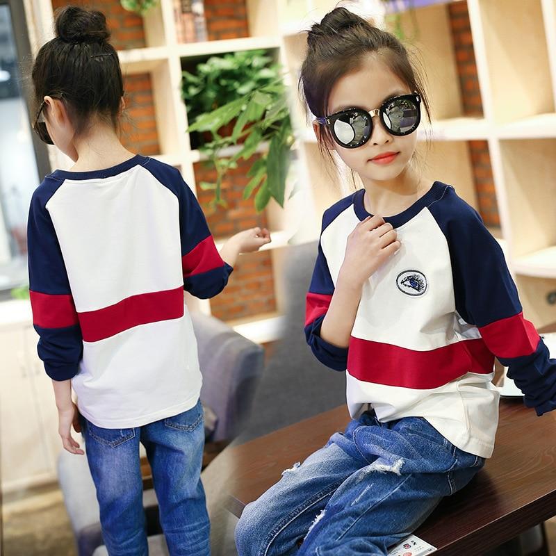 01760033b888 girls kids summer irregular stitching T shirts teens girl streetwear ...