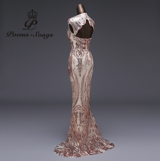 Poems Songs Mermaid Formal Evening Dress prom gowns Party dress vestido de festa Sexy Backless Luxury Sequin robe longue