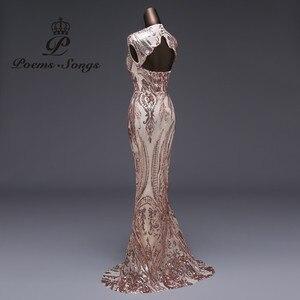 Image 3 - Vestido de noche de sirena de lujo, nuevo estilo, de lentejuelas, de fiesta, Sexy, sin espalda, largo