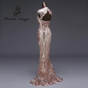 Image 3 - 新スタイルマーメイドイブニングドレス高級スパンコールウエディングドレスパーティードレス vestido デ · フェスタセクシーな背中のローブは longue vestido デ mujer
