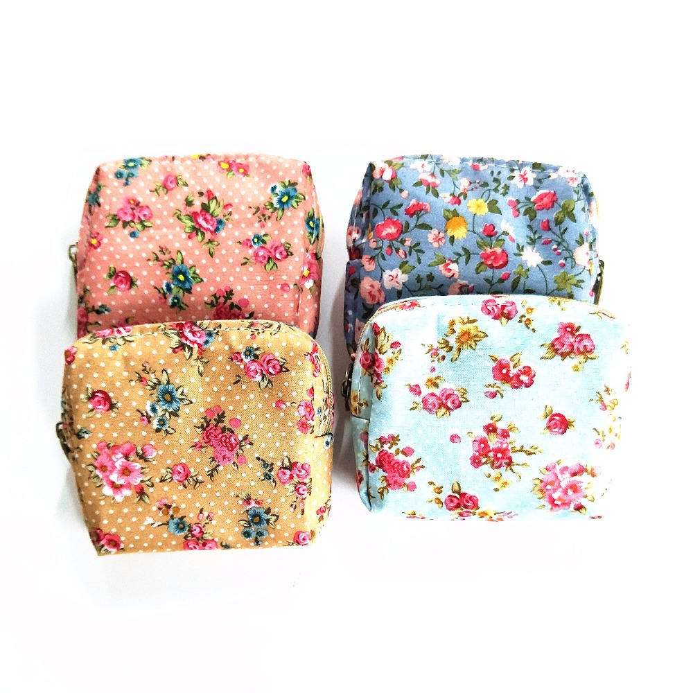M067 New Cute Women Purses Small Flower Elegant Mini Square Cotton Purse Bag Coin Purse Women Student Gift Wholesale 2017 new women cute cotton napkins sanitary bag large loading capacity towel bag coin purses