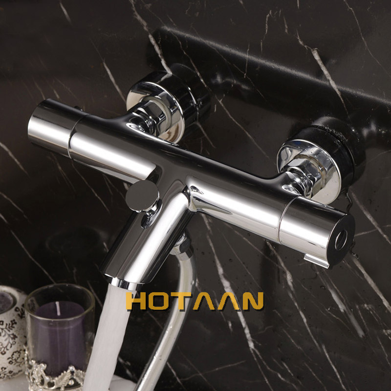 Wall Mounted Bath Shower Ceramic Thermostatic Faucets Valve Bathroom ...