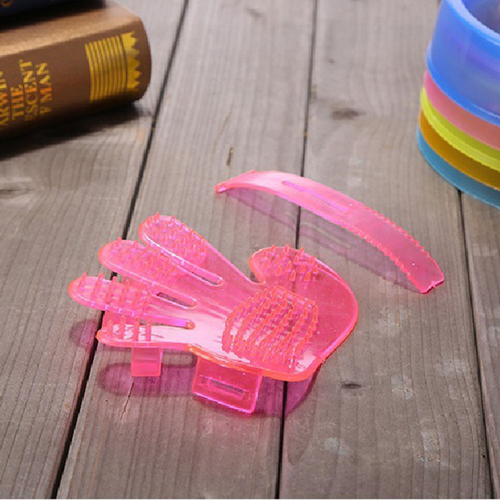 Перчатка для шерсти домашних животных, расческа, стрижка кошек и собак, перчатка для чистки волос, Массажная щетка для удаления волос, товары для животных, аксессуары для кошек - Цвет: Pink