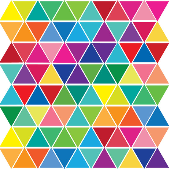 150pcs Set In 15 Colors Mini Rainbow Triangles Wall Decals Wall Stickers, Removable And Eco-Friendly