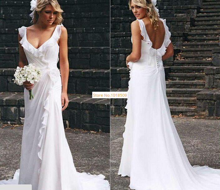 2018 Tank V Neck Bohemia White Beach Sexy Backless Chiffon Elegant A Line Summer Simple Garden Bridal Gown   Bridesmaid     Dresses