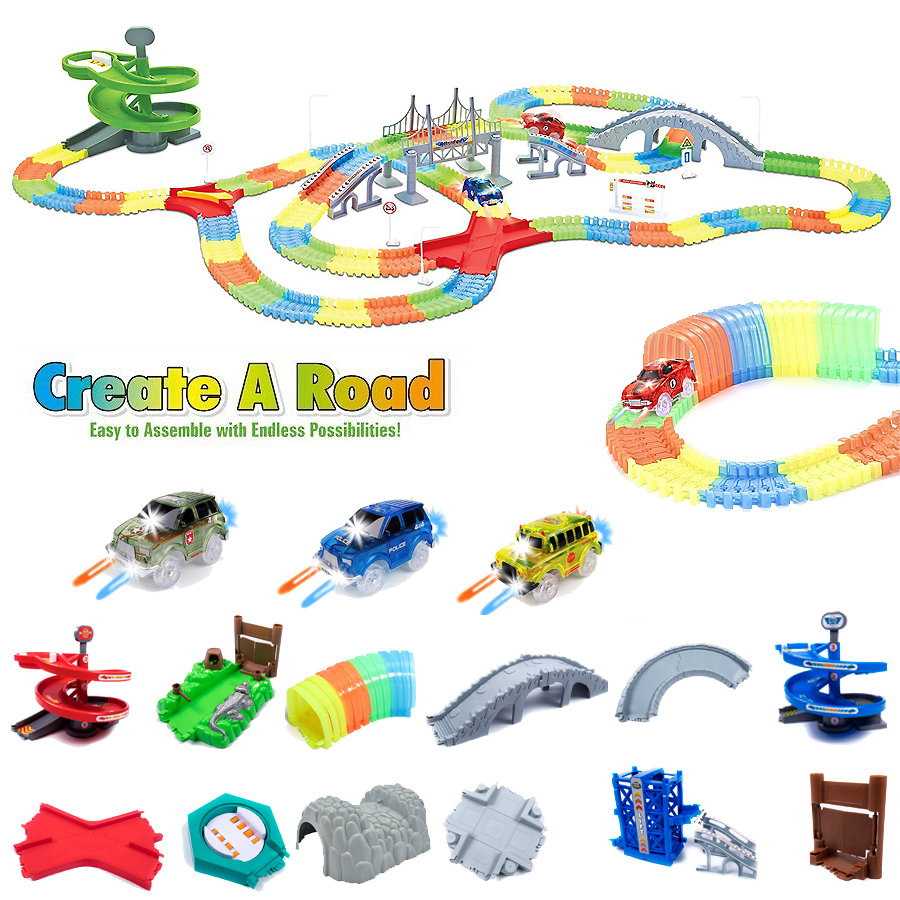 Fits ALL Bend A Path Toy Magical Glowing Flexible Track Accessory Glow In The Dark DIY Diecast Car Educational Toys For Children