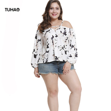 TUHAO 2018 Autumn Lantern Sleeve Elegant casual Blouse Print Floral Sexy Bloused Large Size 3xl Women's Shirt Tops LQ72