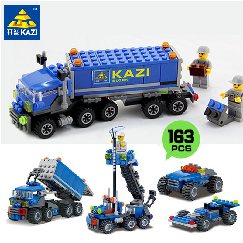 KAZI 163st Transporttruckar Modell Byggstenar Toy Sets ABS Monterade Block Educational Leksaker för barn Barn Presenter