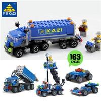 163 Pcs KAZI Transport Dumper Truck Model Building Blocks Toy Sets ABS Assembled Blocks Educational Toys