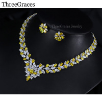 Sparkling Design Nigerian African Wedding Jewelry Gold Yellow Topaz Clear CZ Diamond Statement Necklace Set For