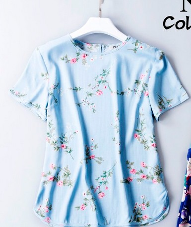 The original design of 2017 new summer heavy silk vintage art fan loose T shirt