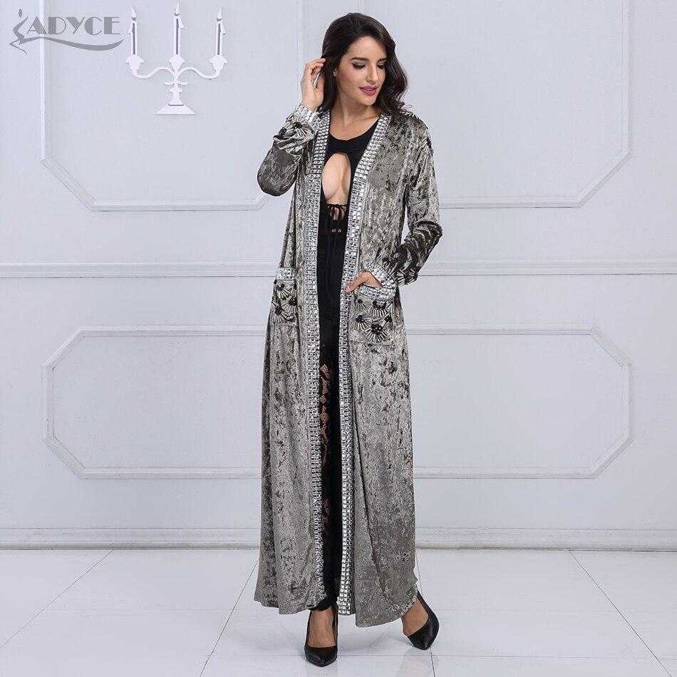 Adyce 2018 Новый Для женщин модные пальто серый коричневый с длинным рукавом Бисер длинные Стиль пальто Для женщин длинные легкое пальто модная ...