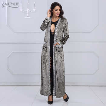 Adyce 2019 New Long Fashion Coat Women Gray Brown Long Sleeve Beading Club Coat Women Long Duster Celebrity Evening Party Coat - Category 🛒 Women\'s Clothing