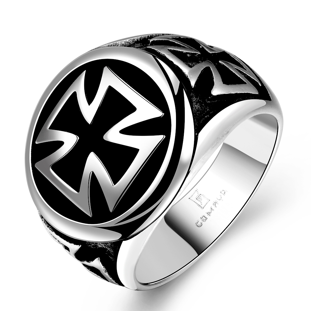 Mænds Ringe Hot Cool Fashion 316L Rustfrit Stål Kors Ring For Mænd Sort Titanium Vintage Mænds Ringe Anel Masculino