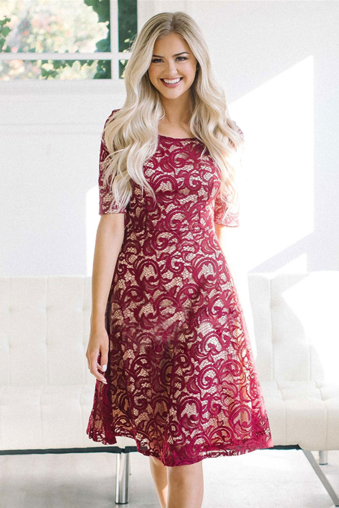 2018 New Arrival Summer Womens Fashion O Neck Short Sleeve Black Burgundy Lace Midi Dress Lgy61920 In Dresses From Womens Clothing Accessories On