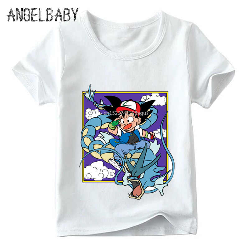 Детская футболка Z & Pokemon Go с аниме «Жемчуг дракона» летние топы для маленьких мальчиков и девочек «ясень и Гоку», милая Повседневная футболка для детей, ooo5071