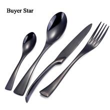 16 Pcs/lot Black Cutlery Food Grade Dinnerware Set 18/8 Stainless Steel Silver Dinner Knife and Fork Salad Teaspoon Cutlery Set
