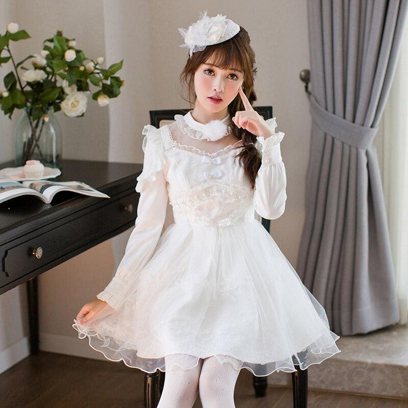new style 944e8 fce78 US $59.98 |Caramella pioggia Japan Style Vintage Lolita Vestito Bianco  Elegante Morbido Cotone Arco Dolce Femmina vestito C22CD7201 in Caramella  ...