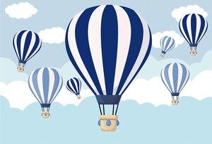 Image 2 - Sxy968 Children photo background photophone hot air balloon backdrop ribbon cloud cartoon blue sky birthday party 7x5ft