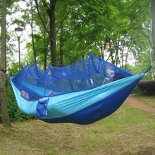 Portable Outdoor Hammock Hanging Bed Nylon Fabric Sleeping Bed + Mosquito Net Tactical Large Load Traveling Camping Hammock(China)