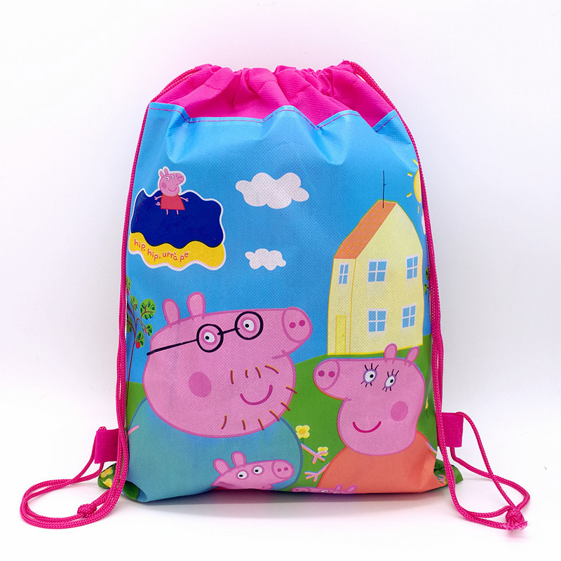 12pcs Cartoon Pink Pig Non-woven Fabric Drawstring Bags Kids Favors Theme Events Gifts Traveling Bags Birthday Party