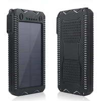 Solar Charger Waterproof Power Bank 20000mAh Solar two USB Ports External solar and plug in for Smartphone with LED Light