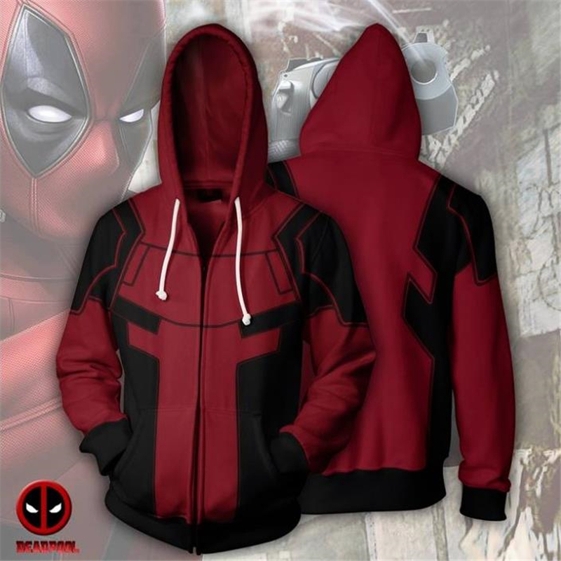 Anime Deadpool Wade Winston Wilson Cosplay Costumes Women Men Hoodies Sweatshirts Zipper Sweater Jackets Coat Top Sportswear New