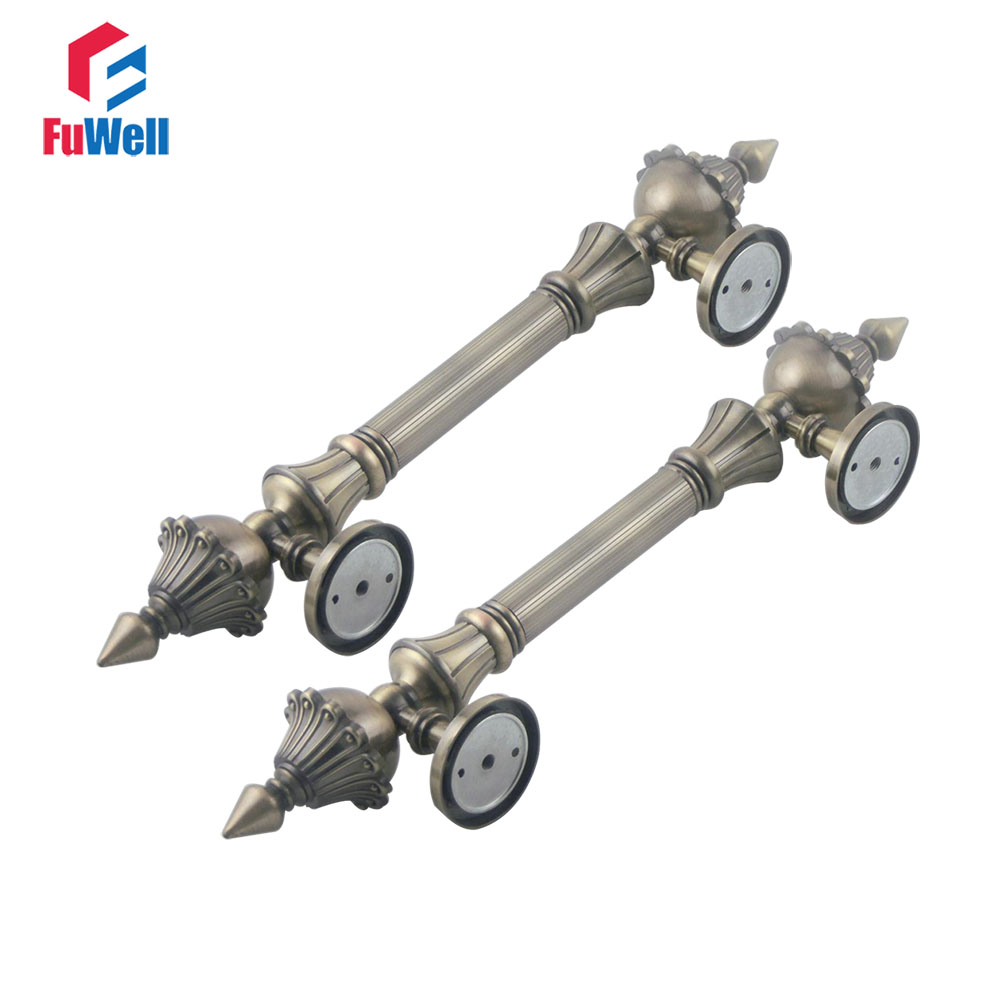 2pcs Zinc Alloy Bronze Door Gate Handles Pull 190mm Hole Pitch Shopping Mall Door Handle 3288 wall to suction dual gate zinc alloy