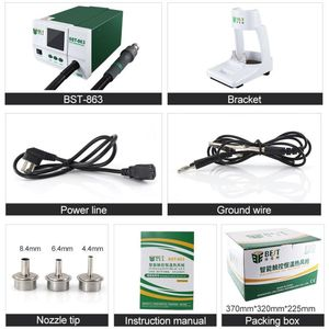 Image 5 - Lead free Adjustable Hot Air best 863 Rework Station Soldering Touch Screen LCD 1200W 220V For Phone CPU PCB