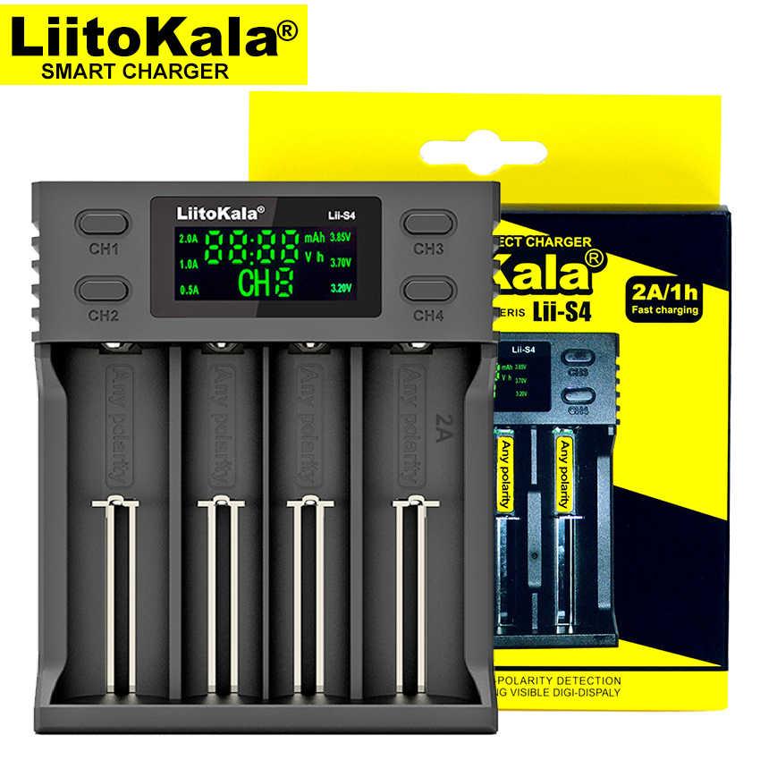 Liitokala Lii-S4 18650 شاحن ، شحن 18650 1.2 v 3.7 v 3.2 v AA/AAA 26650 21700 نيمه ليثيوم أيون شاحن بطارية