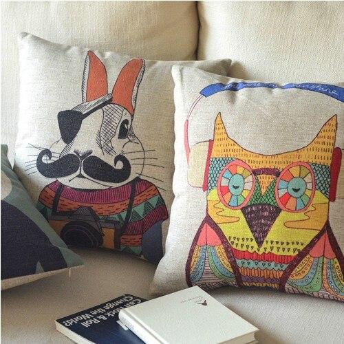 っNórdico simple animales impreso almohada conejo de dibujos