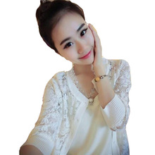 White color Summer Lace sexy Coat for women Sunscreen jacket lace coat Sun Proof See-through Mesh Jacket Woman Korean coat cloth