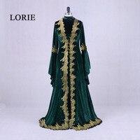 Лори марокканской кафтан Aarabic вечерние платья Дубай бархат платье для выпускного вечера с золотыми кружевами зеленый Ral фото мусульманский