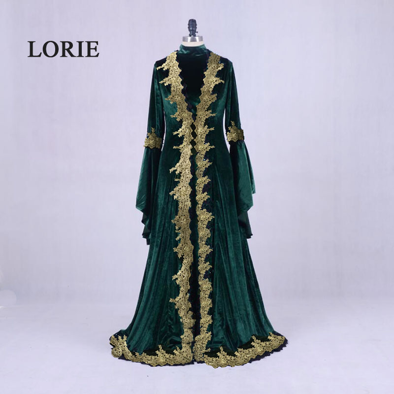 LORIE Moroccan Kaftan Aarabic Evening Gowns Dresses Dubai Velvet Prom Dress with Gold Lace Green Ral Photo Muslim Abaya Gown gown