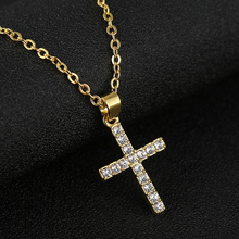 New Exquisite Bible Jesus Cross Pendant Necklace for Rhinestone Gold/Silver color women Crucifix Charm Jewelry