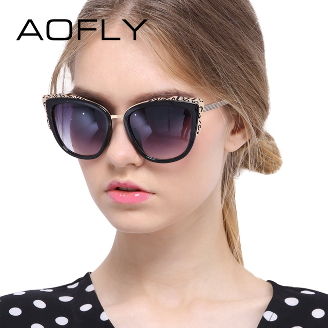AOFLY Sunglasses Fashion Cat Eye Sunglasses for Women Unique Style With Flowers Sunglasses Brand Designer Women Mirror Shades